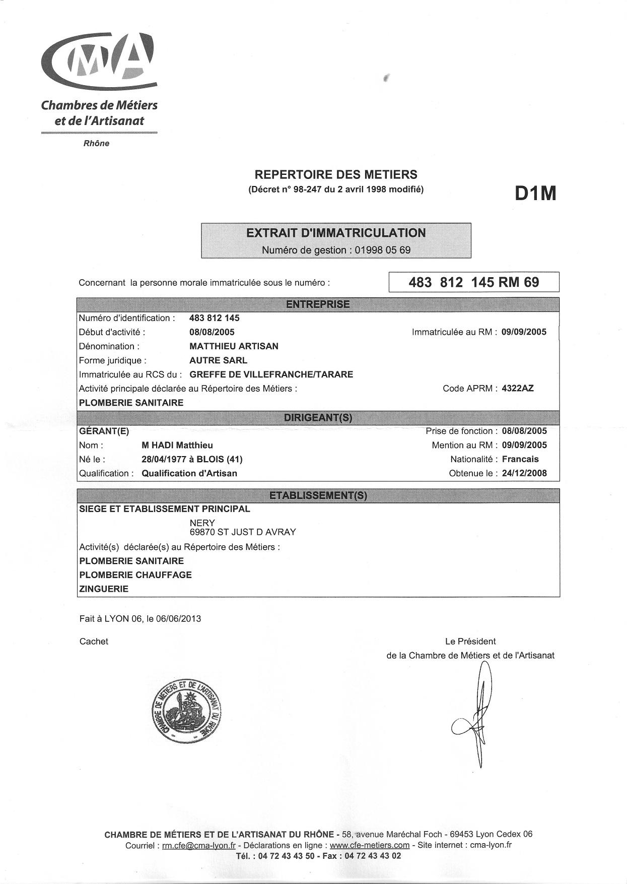 Notre structure juridique et assurances matthieu artisan - Chambre du commerce et de l artisanat ...