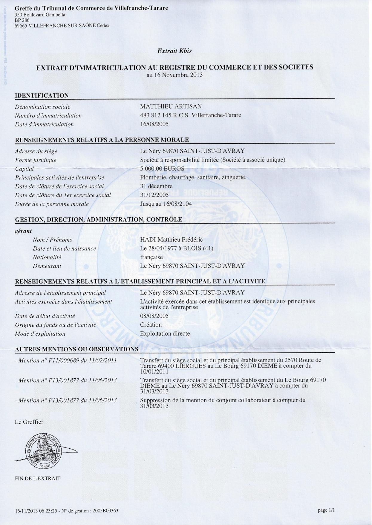 Notre structure juridique et assurances matthieu artisan - Numero de telephone de la chambre des commerces ...